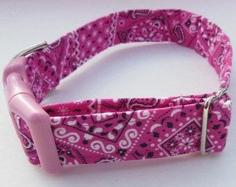 Pink Bandana Adjustable Collar - Made to order -