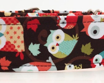 Owl Adjustable Martingale Dog Collar - Made to Order -