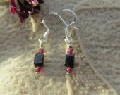 A Little Privacy Please, Healing Stone Earrings, Black Tourmaline, Garnet, Sterling Silver Earrings