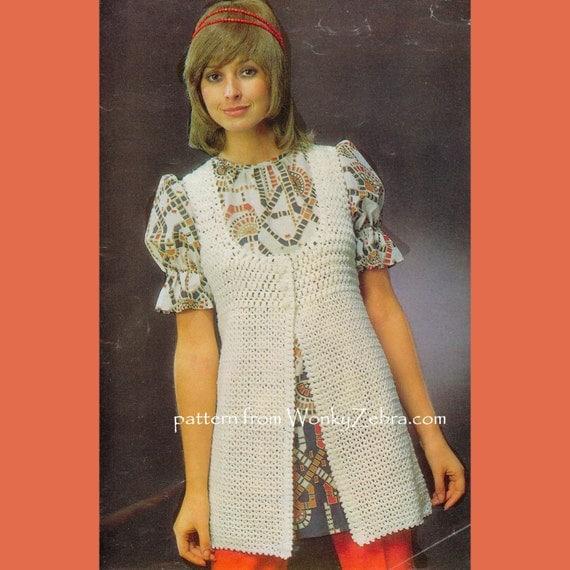 Sleeveless Jacket Crochet Vintage Pattern PDF 312 from WonkyZebra
