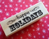 Happy Holidays Christmas Rubber Stamps