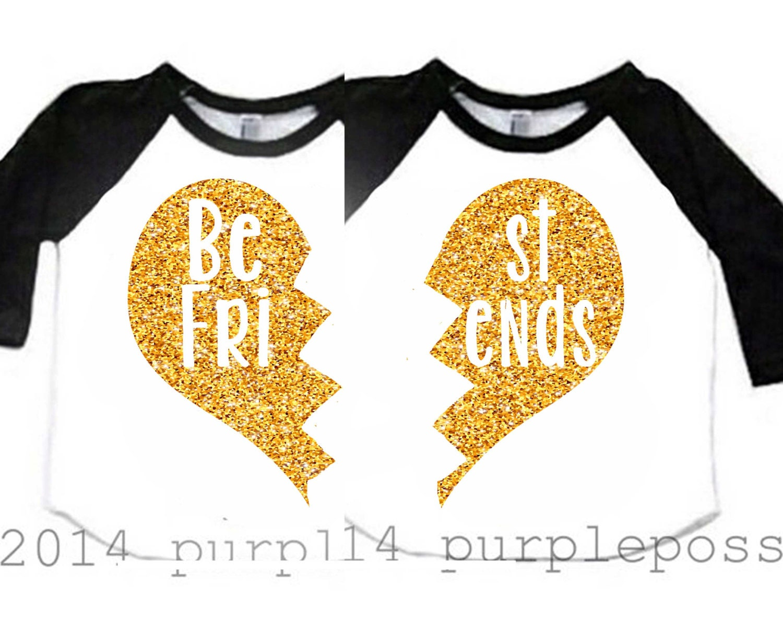Best Friend Kids Shirts Gold Glitter Custom Best Friend Shirts