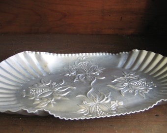 Hammered Aluminum Tray, Vintage 1950