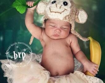 Fuzzy Monkey Earflap Hat