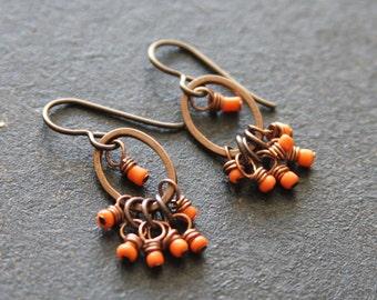 Petite Orange Dangle Earrings, Small Beaded Hoop Earrings, Fringe Earrings