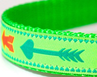 Neon Arrow Dog Collar, Boho Chic,  Adjustable Green Pet Collar, Tribal Print, Boho Chic