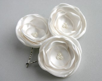 Bridal Hairpieces, Flower Hair Clips, Ivory Flower Hair Pins, Wedding Headpiece, Flower Hair Pieces, Floral Hair Pins, Flower Headpieces