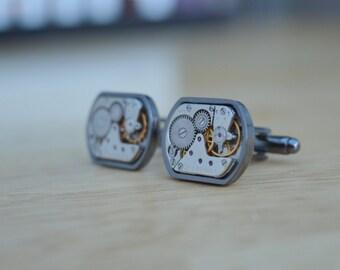 Medium rectangular watch movement cuff links with gunmetal surround