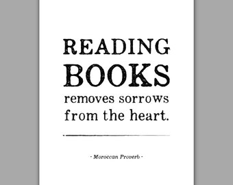 Reading Poster Books Quote art print, typography, bibliophile quote
