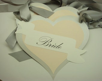 Heart Shape Wedding Chair Signs with wording Bride and Groom Shabby Chic Style All of my Card Stock Colors are Available