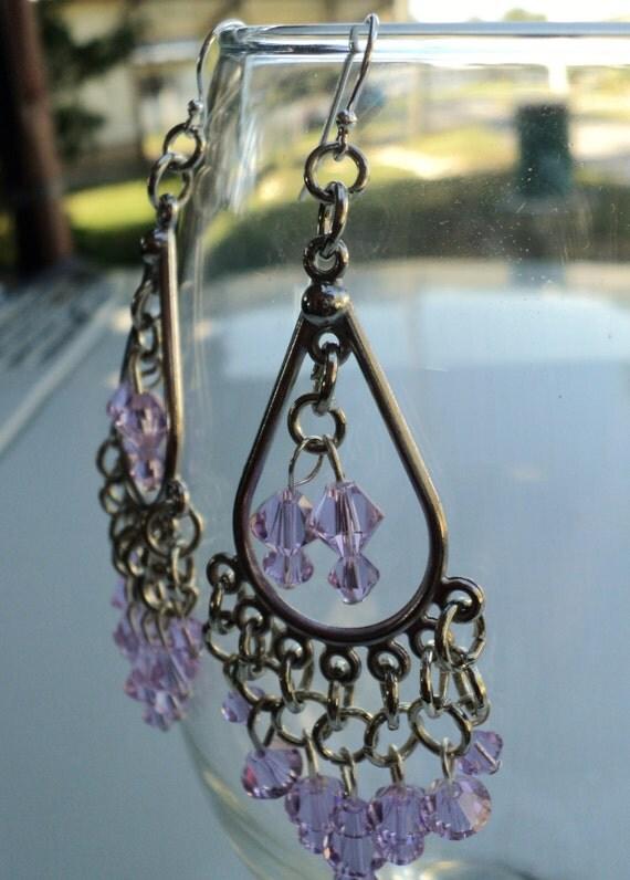 Pink Swarovski Crystal Chandelier Dangle Earings