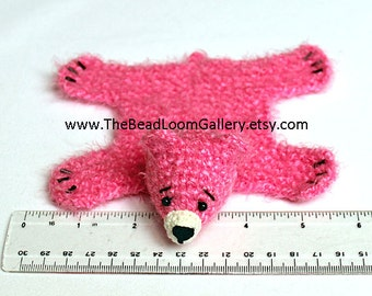 Dollhouse Miniature Knitted Bear Skin Rug - Hot Pink - Limited Edition