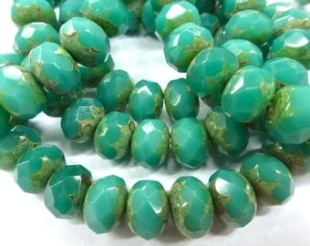NEW COLOR 25 Czech Glass Fire Polish Roundels Opaque Green Turquoise Opal with a Picasso Finish  9x6mm