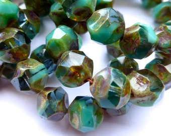 15 Czech Glass Fire Polish Opaque/Translucent Green Turquoise/Aqua Teall Center Cut with Picasso Finish 11x10mm size