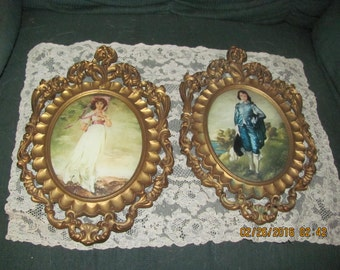Vtg Pair Ornate Gold Syroco Style Framed PINKY BLUE BOY Prints Convex Bubble Glass Picture Frames, Italy