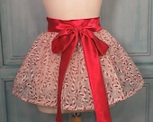 Hostess Mini Half Apron Candy Cane Shimmer Organza