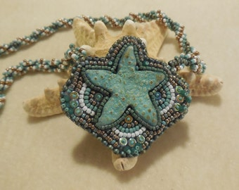 PATTERN Tutorial for Starfish bead embroidery and spiral necklace