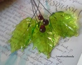 Glass Holly Headpins with Glass Red Berry Headpins