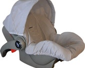 Baby Car Sear Cover, Infant Car Seat Cover, Slip Cover- Grey Seersucker with White Piping