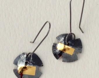 24K Keum Boo and Black Sterling Silver Earrings, Handmade