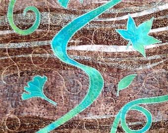 Whimsical Quilt Art Swirling Leaves