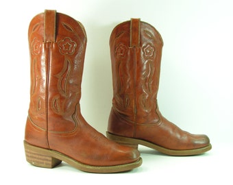 campus boots womens 6 b m golden brown vintage cowboy leather western cowgirl durango