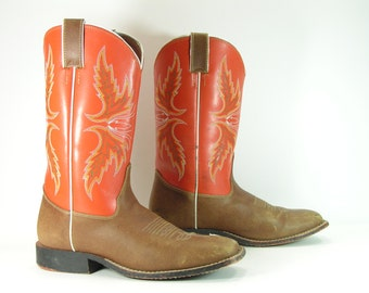 vintage cowboy boots women's 7 M B brown justin leather cowgirl clay