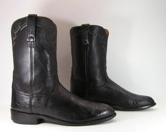 lucchese cowboy boots mens 11.5 D black ropers calf skin western vintage leather