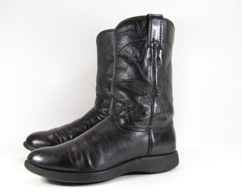 justin roper cowboy boots womens 9.5 M black ropers western leather work cowgirl