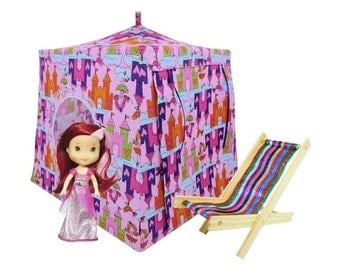 Toy Pop Up Tent, Sleeping Bags, light pink, castle & princess print fabric