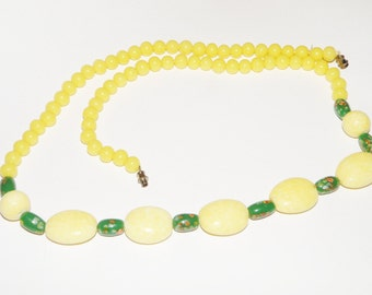 Beaded Yellow and Green Glass Necklace