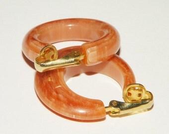 Bakelite Swirl Hoop earrings Clip on style