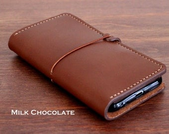 Hand stitched iPhone Leather wallet with a Silicone case in MILK CHOCOLATE (Free Personalization)