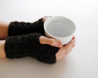 Brown warmers, fingerless mittens, hand-crocheted & ready to ship