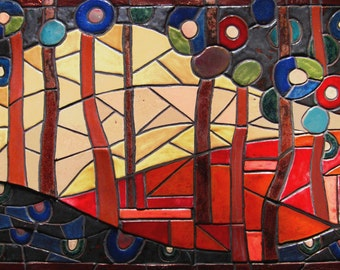"Abstract  ""Forest Sunset"" Ceramic Mosaic Art Tile Scene, Framed Wall Hanging, Backsplash"