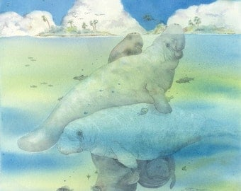 Watercolor original 15 x 19 sea cow bowman Crystal River Traffic manatee portrait Florida seacow