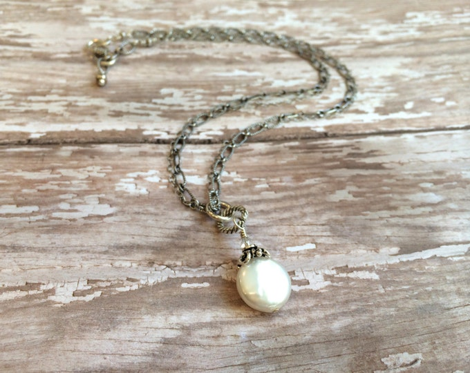 White Freshwater Coin Pearl Necklace on Bali Silver Chain