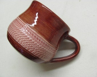 Large Mug  Ceramic Pottery Handmade Cup Coffee Mug Tea Cup  Brick Red Glaze Chattered Pottery