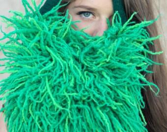 Felted green  purse clutch felt handbag wool  bag grass evening fringes dreads scarf  Regina Doseth handmade Lithuania EU