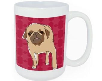 Pug Ceramic Coffee Tean Mug - Time to Walk the Dog Mug - Funny Dog Coffee Mugs Pug Gifts