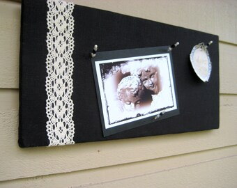 Linen Pin Board, Modern and classic Black Irish Linen Bulletin Board with emboidered cotton lace for your Photos