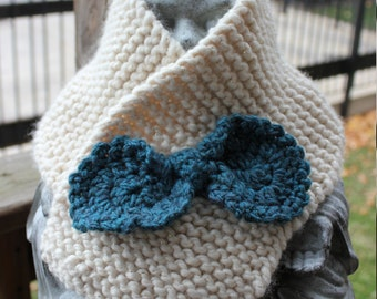 Hint of Sparkle Bow Button Cowl