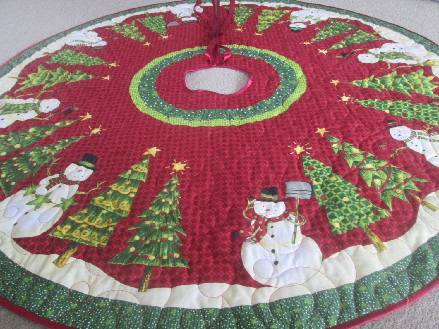Christmas Tree Skirt Snowman And Christmas Treequilted Tree