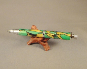 Workshop/Sketch Pencil - Green with Yellow and Black Swirl Acrylic