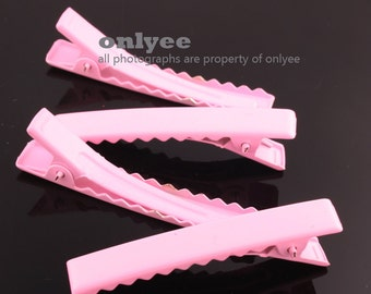 14pcs-45mmAlligator Colored Hair Clips Pins with Teeth-Light Pink(E250)