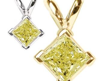 yellow  diamond pendant  14k gold