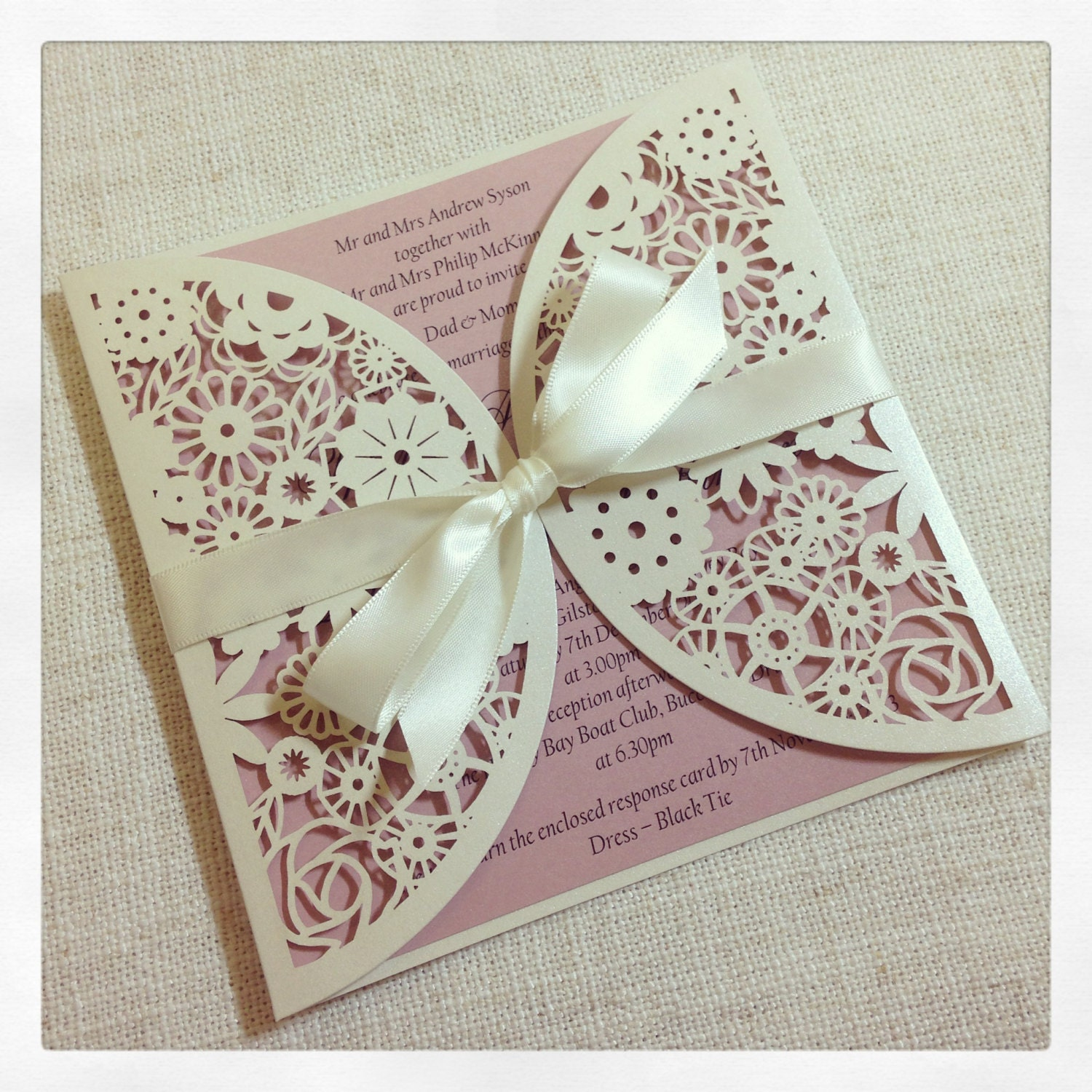 Floral Paper Lace Wedding Invitation Laser Cut Invitation With Response Card