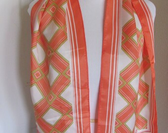 "Lovely Orange Colorful Paoli Acetate Scarf - 10"" x 46"" Long  - Affordable Scarves!!!"