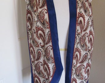 "Anne Klein Lovely Blue White Paisley Silk  Scarf - 9"" x 68"" Long - Best of the Best"