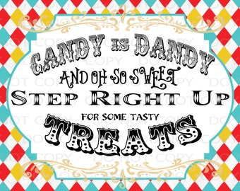 """Printable DIY Vintage Circus Candy Treat Table sign - 8.5"""" x 11"""" INSTANT DOWNLOAD"""